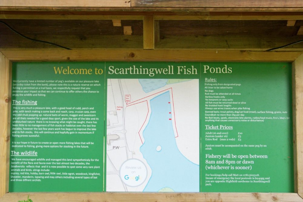 Scarthingwell Fish ponds info