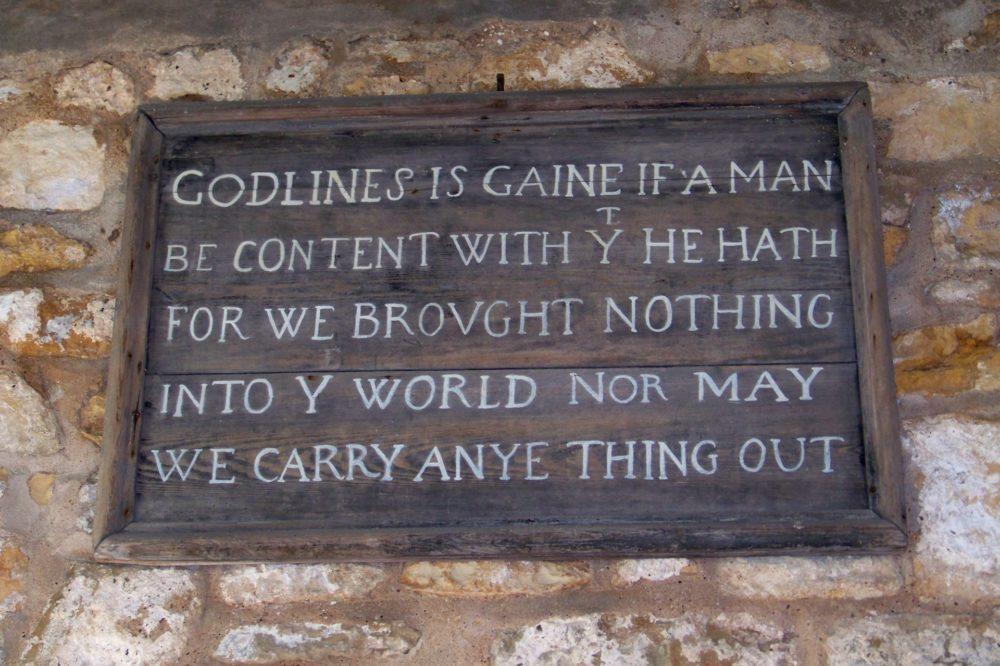 Old board inside St Marys Chapel