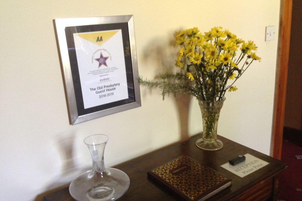 Friendliest B&B award certificate and  vase